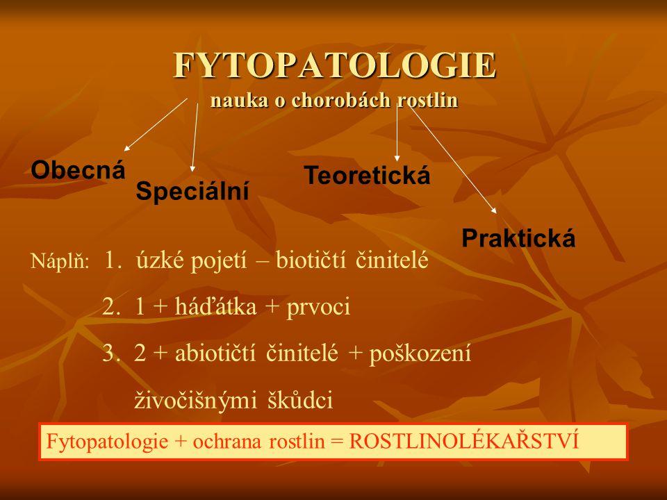FYTOPATOLOGIE nauka o chorobách rostlin