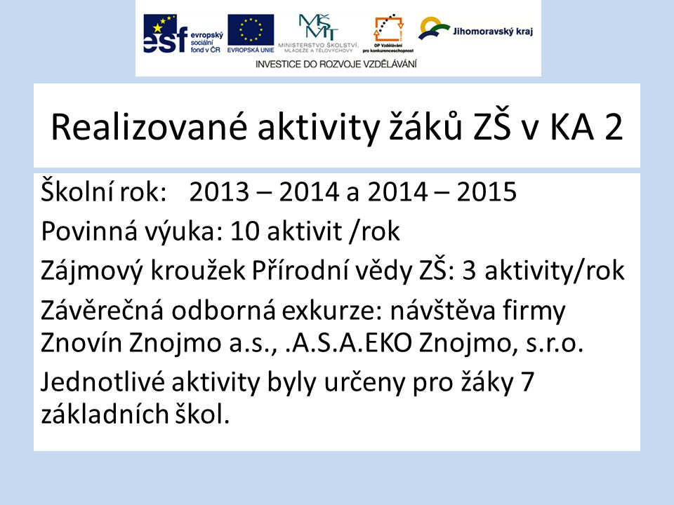 Realizované aktivity žáků ZŠ v KA 2