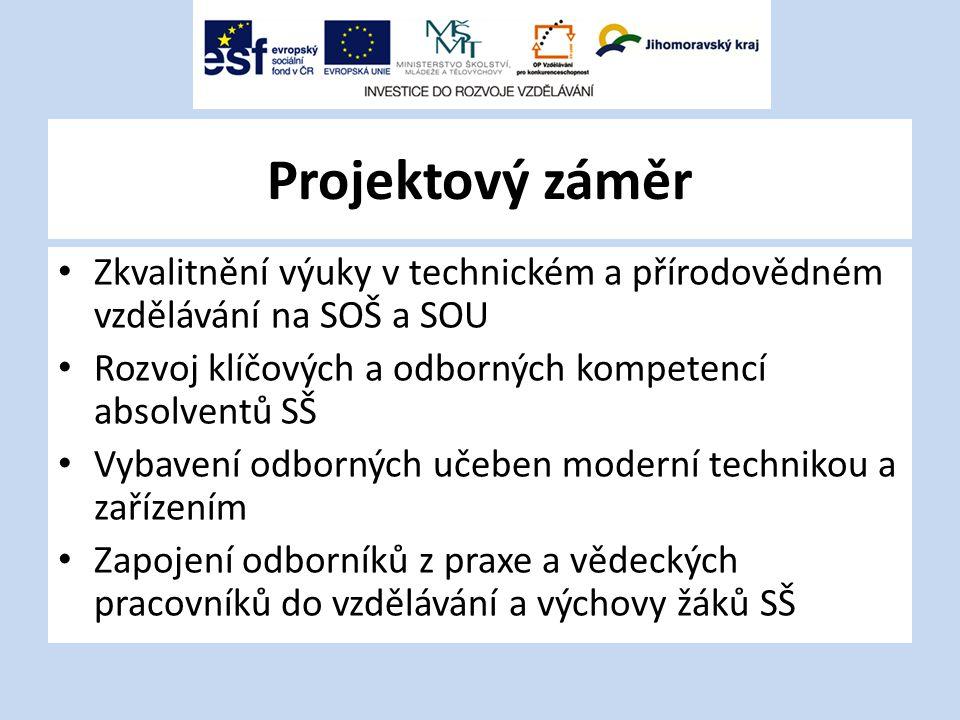 Projektový záměr Zkvalitnění výuky v technickém a přírodovědném vzdělávání na SOŠ a SOU. Rozvoj klíčových a odborných kompetencí absolventů SŠ.