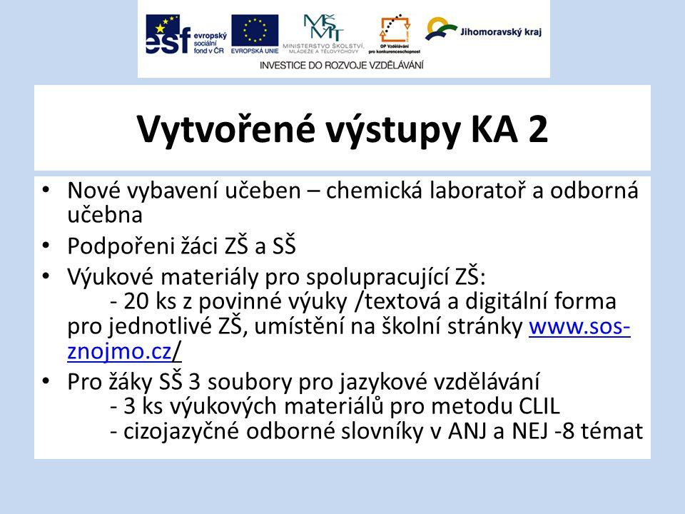 Vytvořené výstupy KA 2 Nové vybavení učeben – chemická laboratoř a odborná učebna. Podpořeni žáci ZŠ a SŠ.