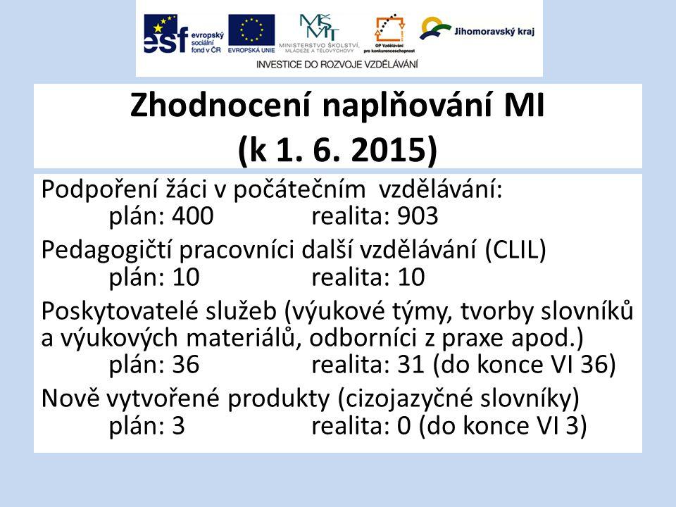 Zhodnocení naplňování MI (k 1. 6. 2015)