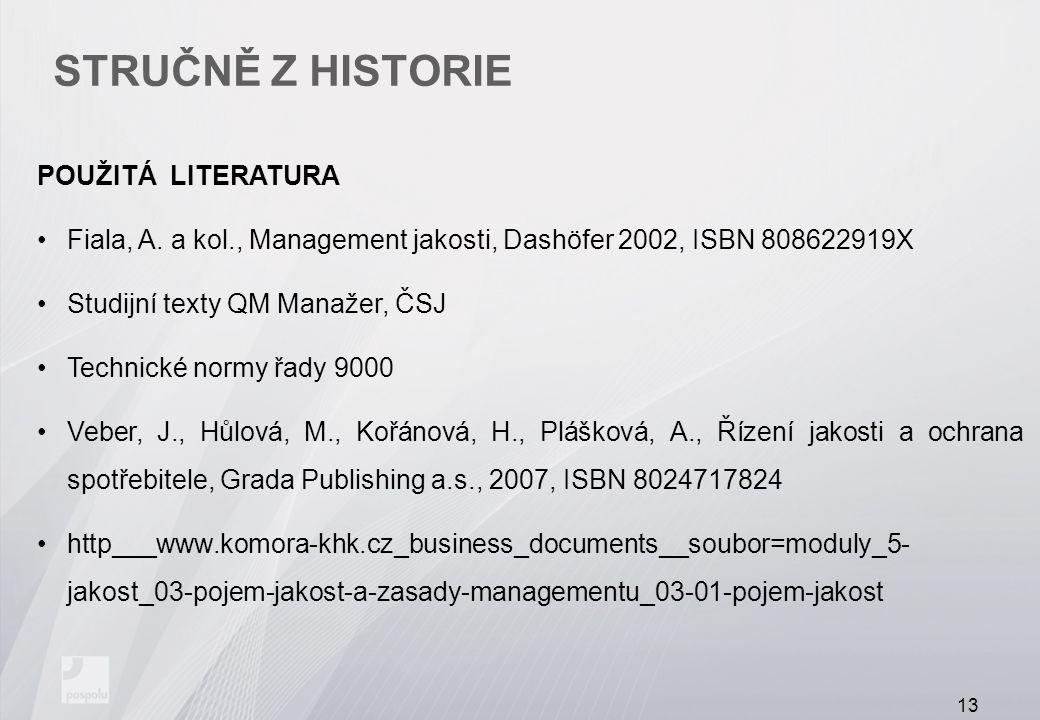 Stručně z historie POUŽITÁ LITERATURA
