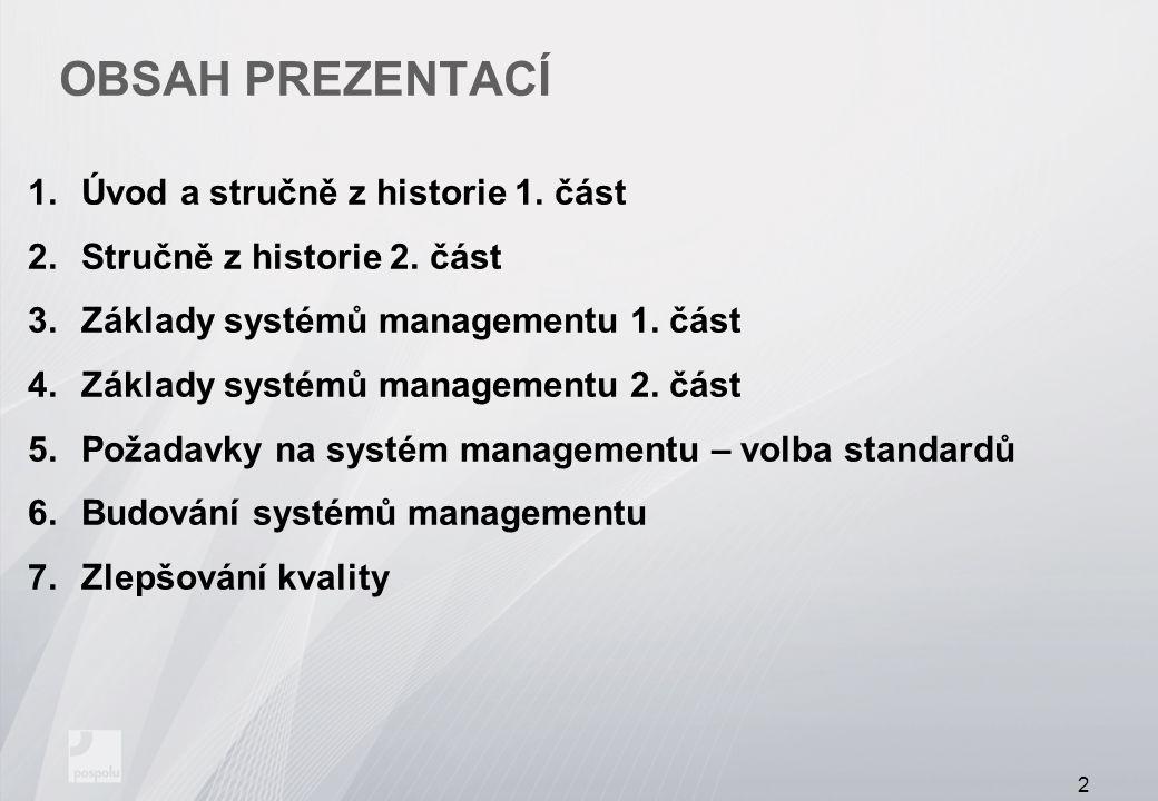 Obsah prezentací Úvod a stručně z historie 1. část