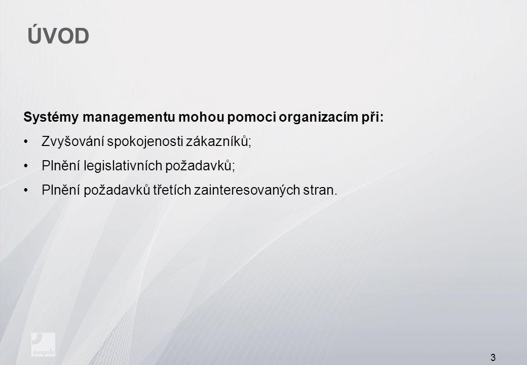 ÚVOD Systémy managementu mohou pomoci organizacím při: