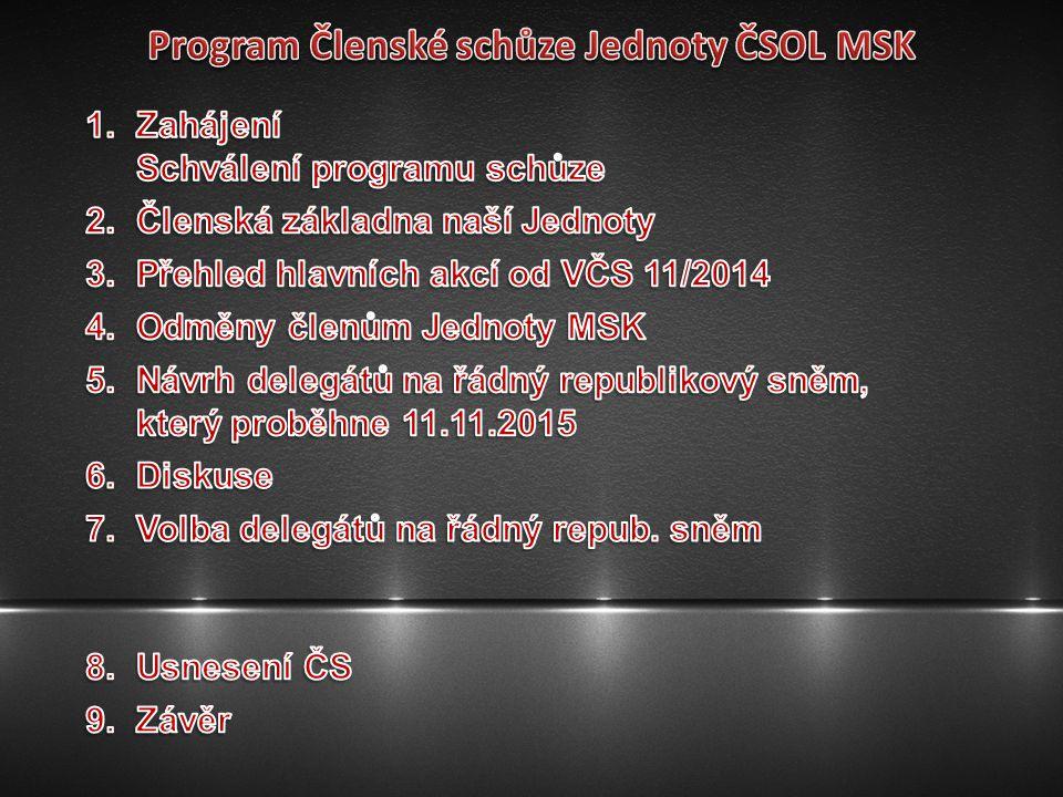 Program Členské schůze Jednoty ČSOL MSK