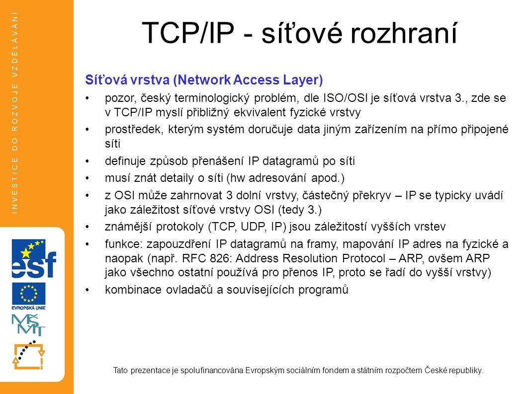 TCP/IP - síťové rozhraní
