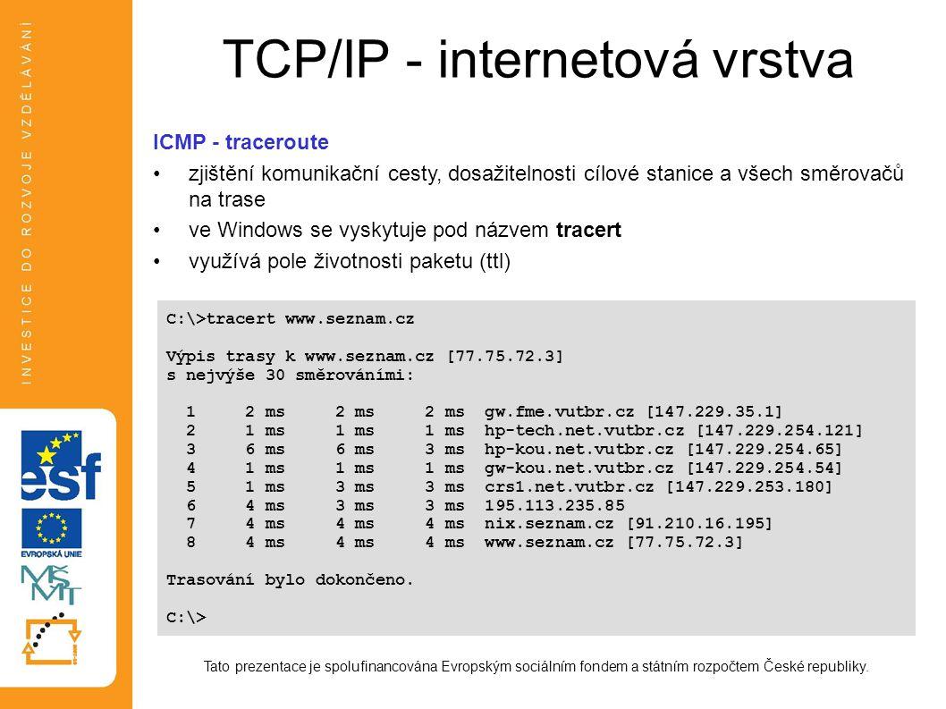 TCP/IP - internetová vrstva