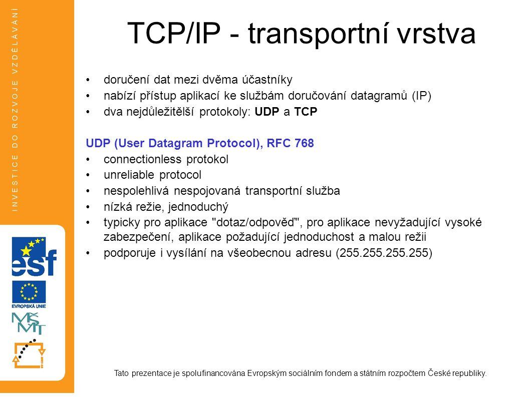 TCP/IP - transportní vrstva