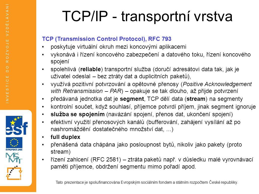 TCP/IP - transportní vrstva