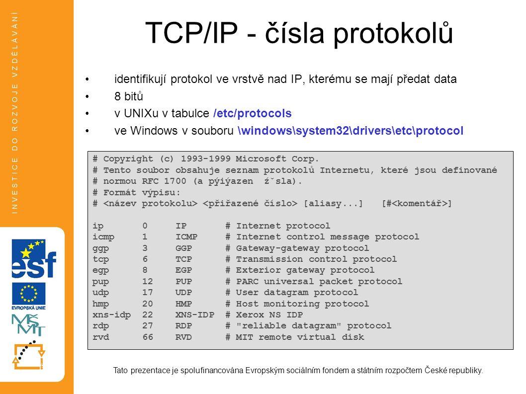 TCP/IP - čísla protokolů