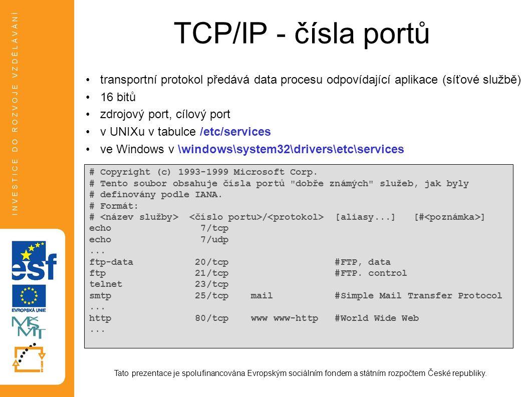 TCP/IP - čísla portů transportní protokol předává data procesu odpovídající aplikace (síťové službě)