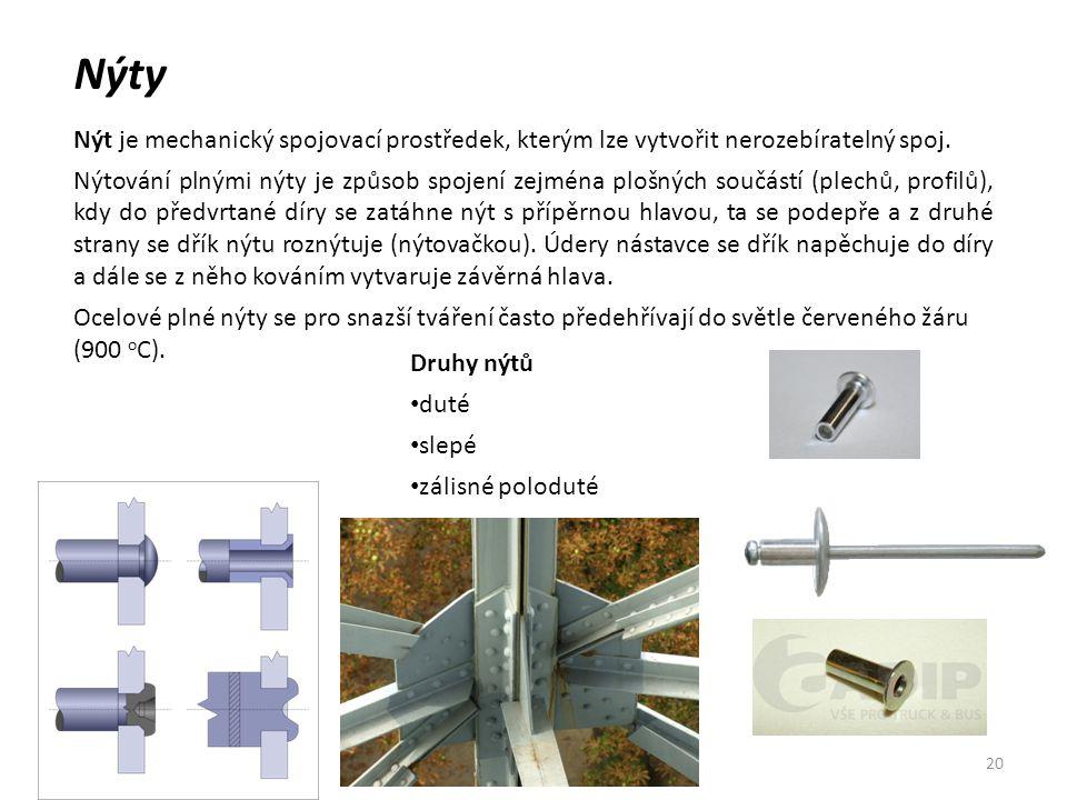 Nýty Nýt je mechanický spojovací prostředek, kterým lze vytvořit nerozebíratelný spoj.
