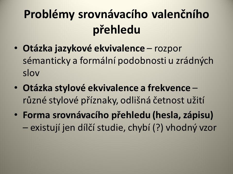 Problémy srovnávacího valenčního přehledu