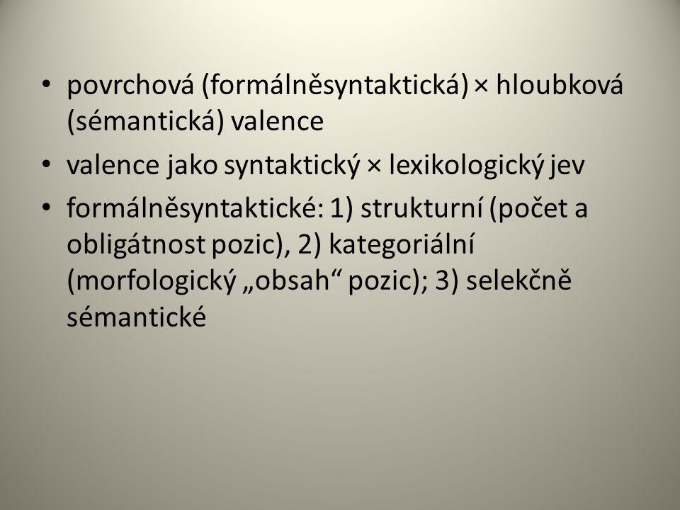povrchová (formálněsyntaktická) × hloubková (sémantická) valence