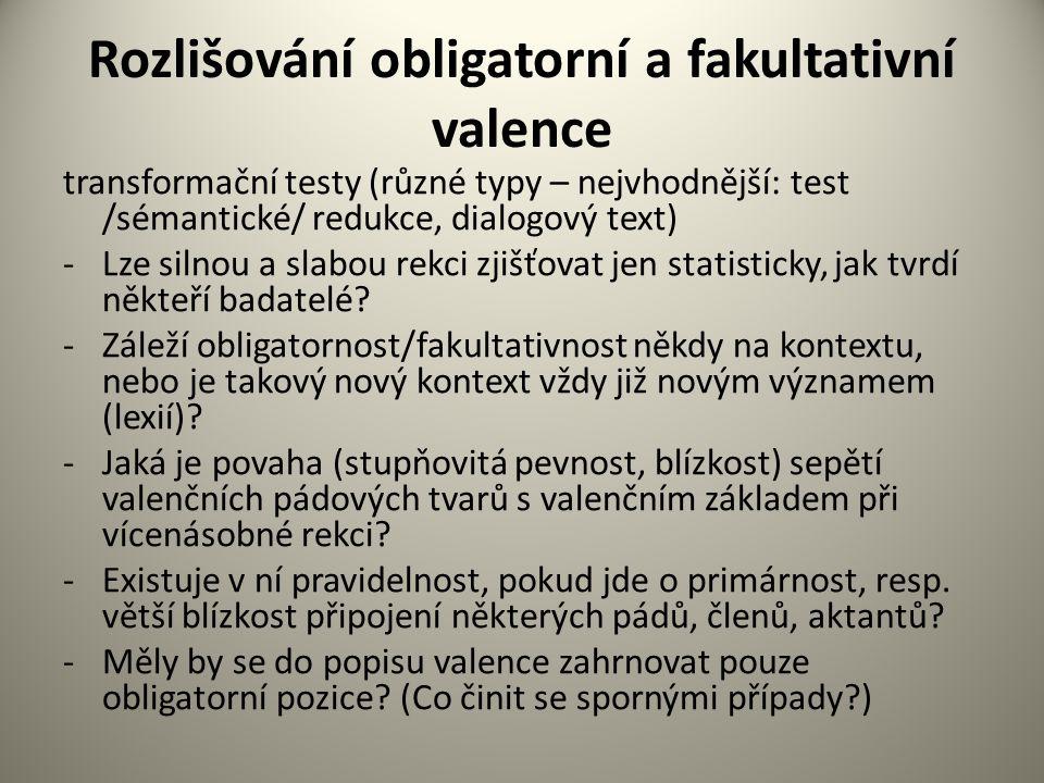 Rozlišování obligatorní a fakultativní valence