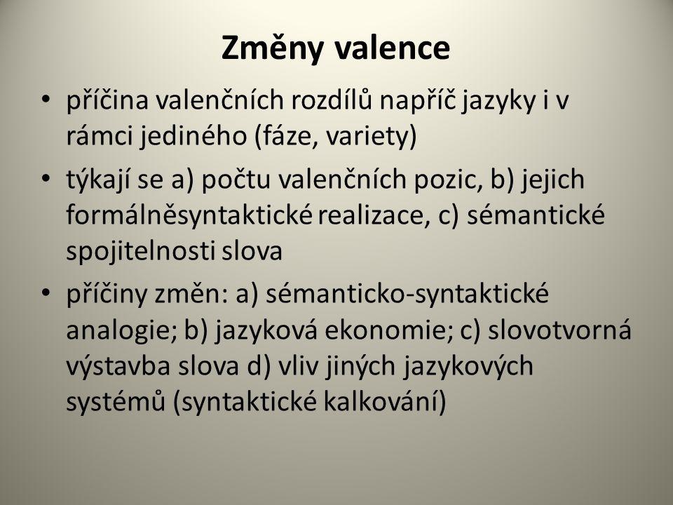 Změny valence příčina valenčních rozdílů napříč jazyky i v rámci jediného (fáze, variety)