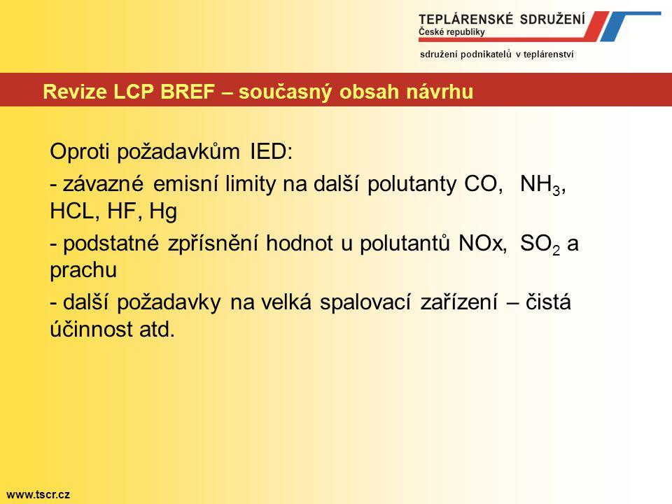 Revize LCP BREF – současný obsah návrhu