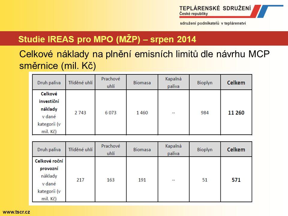 Studie IREAS pro MPO (MŽP) – srpen 2014