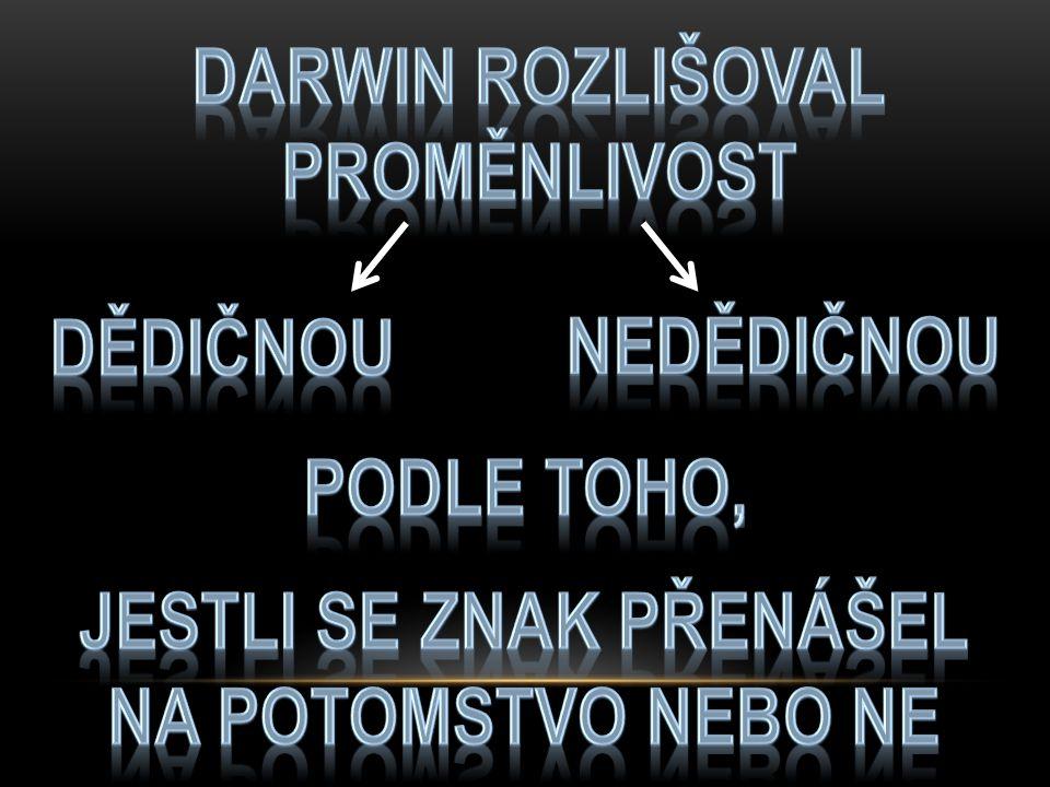 DARWIN ROZLIŠOVAL PROMĚNLIVOST