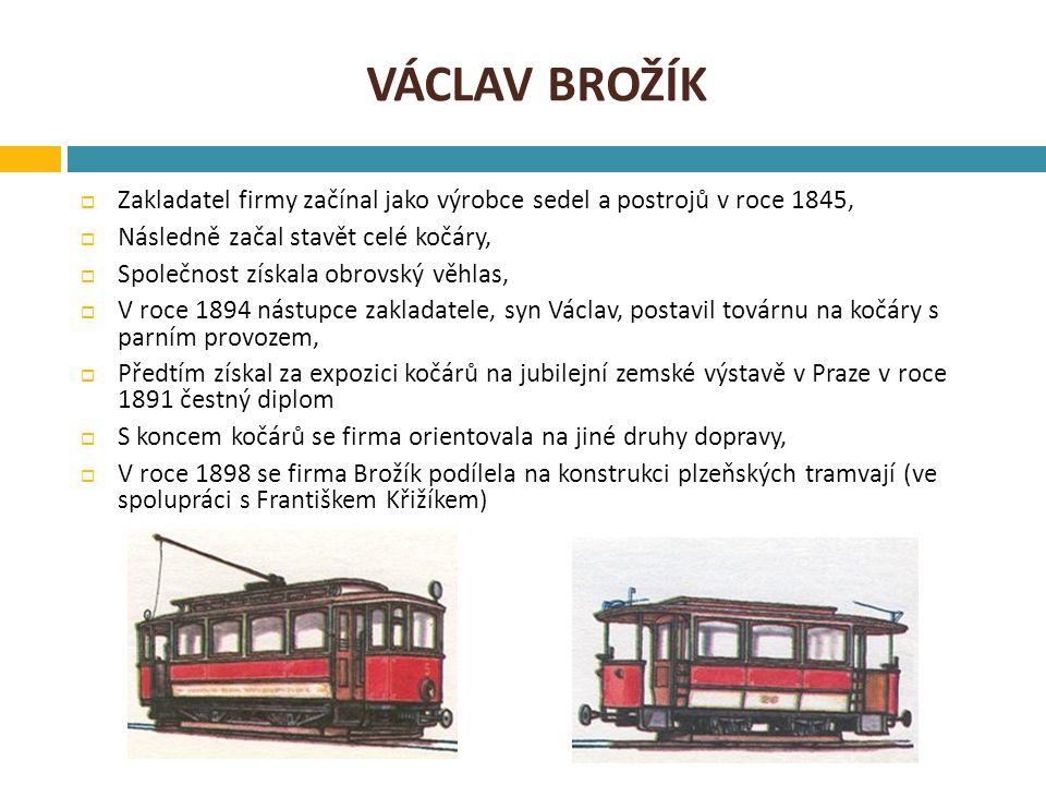 Václav brožík Zakladatel firmy začínal jako výrobce sedel a postrojů v roce 1845, Následně začal stavět celé kočáry,