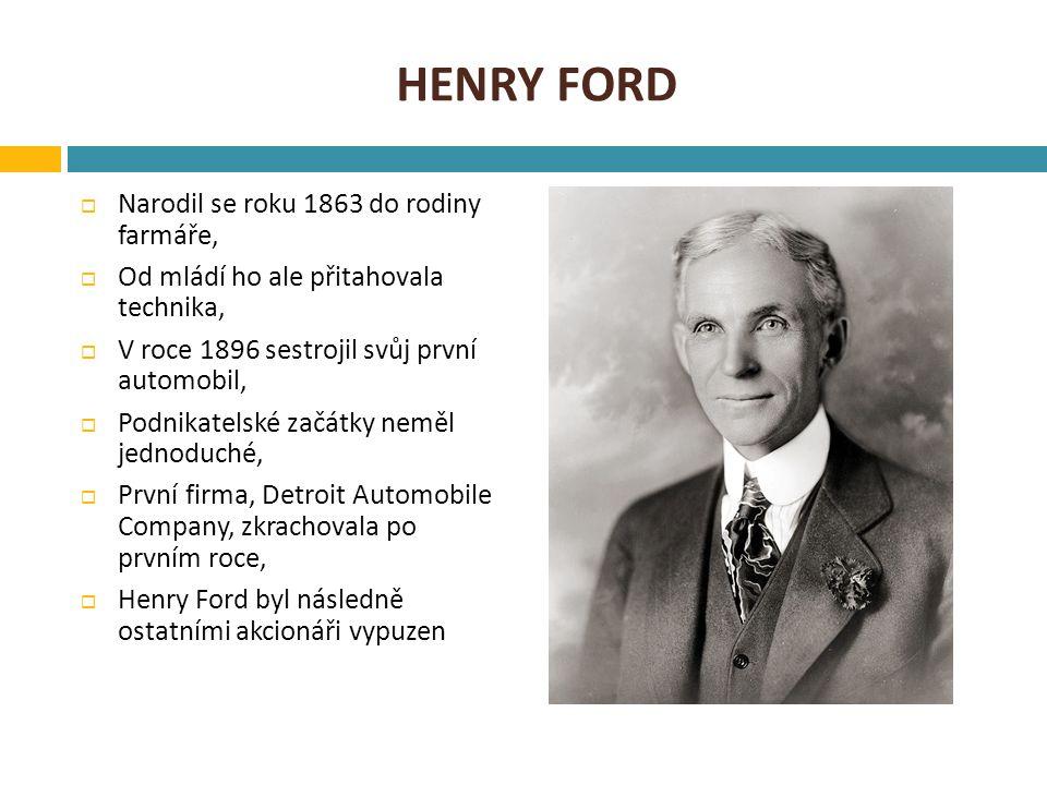 Henry ford Narodil se roku 1863 do rodiny farmáře,
