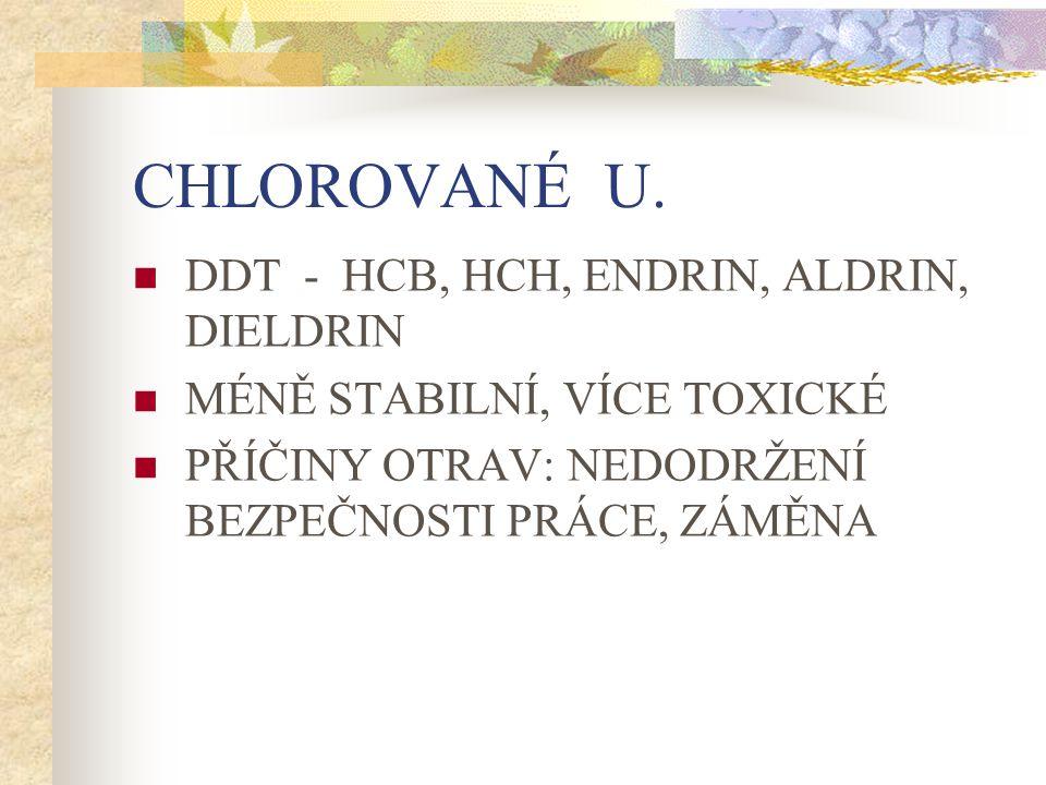CHLOROVANÉ U. DDT - HCB, HCH, ENDRIN, ALDRIN, DIELDRIN