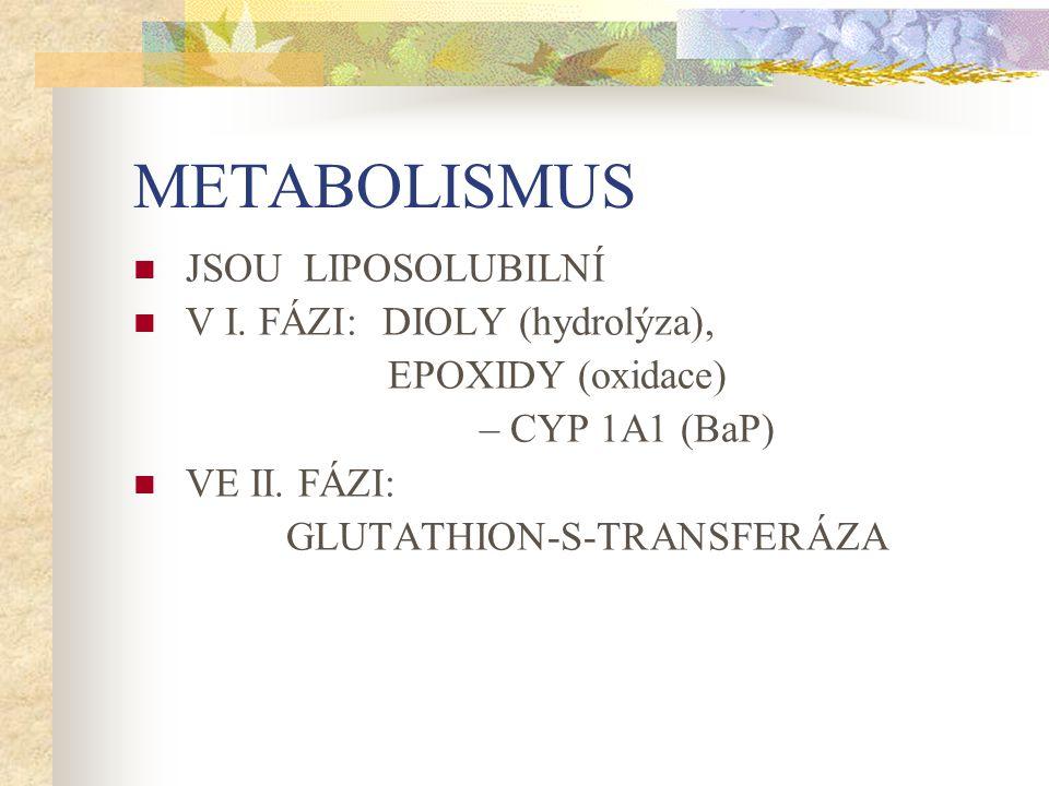METABOLISMUS JSOU LIPOSOLUBILNÍ V I. FÁZI: DIOLY (hydrolýza),