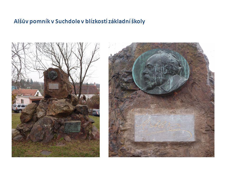 Alšův pomník v Suchdole v blízkosti základní školy