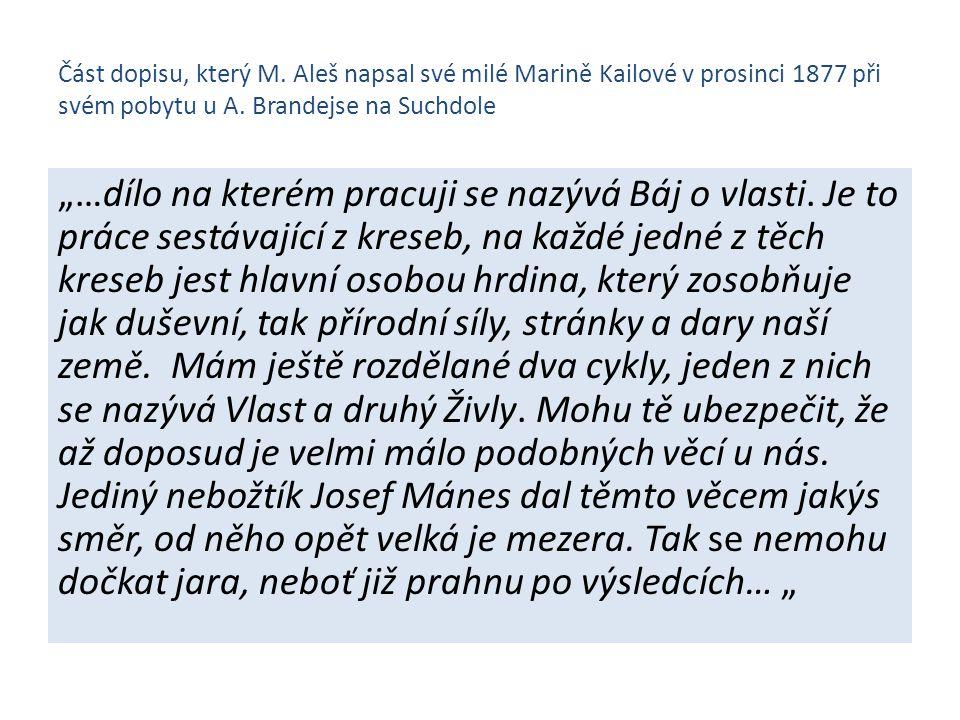 Část dopisu, který M. Aleš napsal své milé Marině Kailové v prosinci 1877 při svém pobytu u A. Brandejse na Suchdole