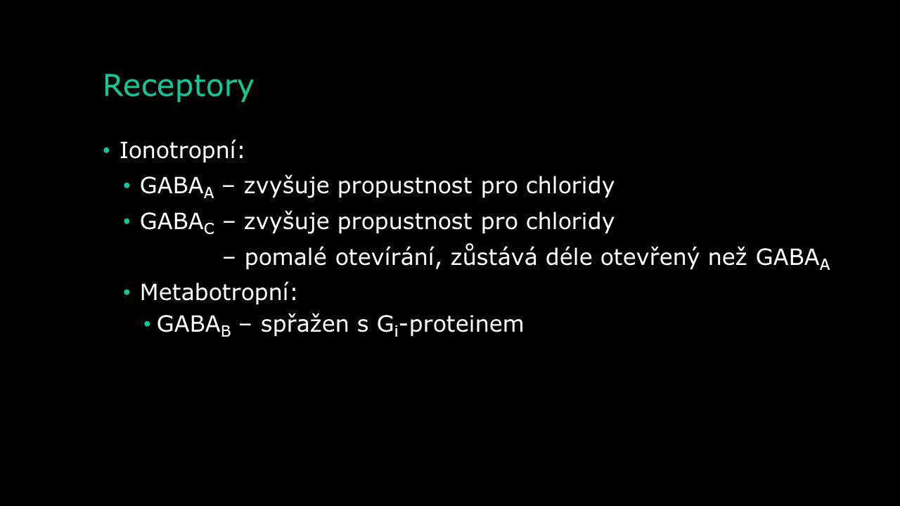 Receptory Ionotropní: GABAA – zvyšuje propustnost pro chloridy