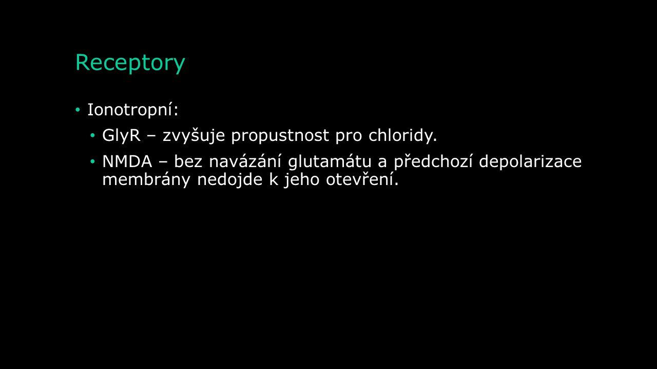 Receptory Ionotropní: GlyR – zvyšuje propustnost pro chloridy.