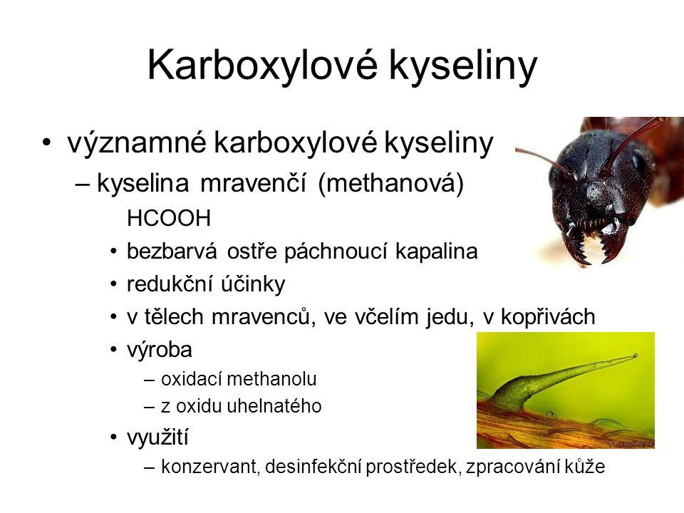 Karboxylové kyseliny významné karboxylové kyseliny