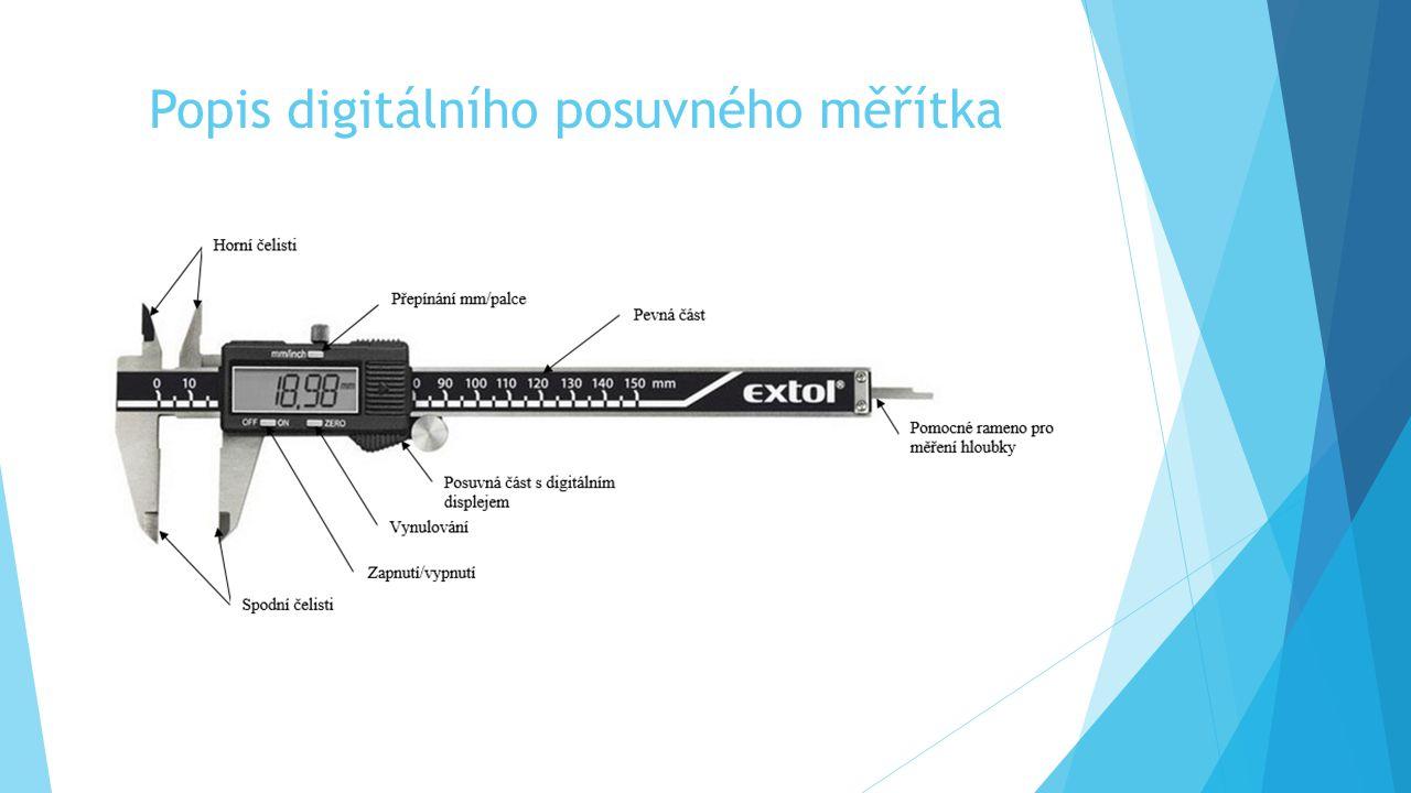 Popis digitálního posuvného měřítka