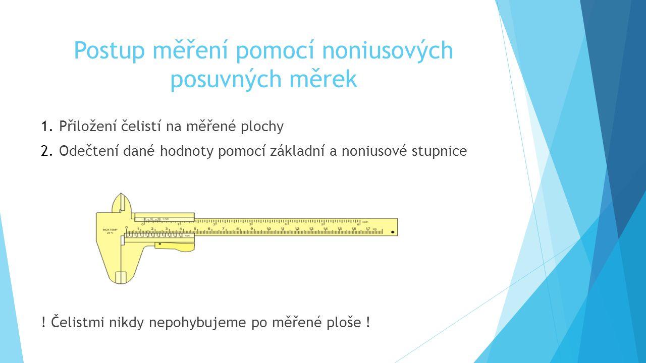 Postup měření pomocí noniusových posuvných měrek