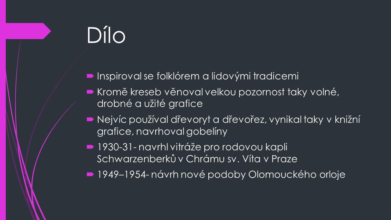 Dílo Inspiroval se folklórem a lidovými tradicemi