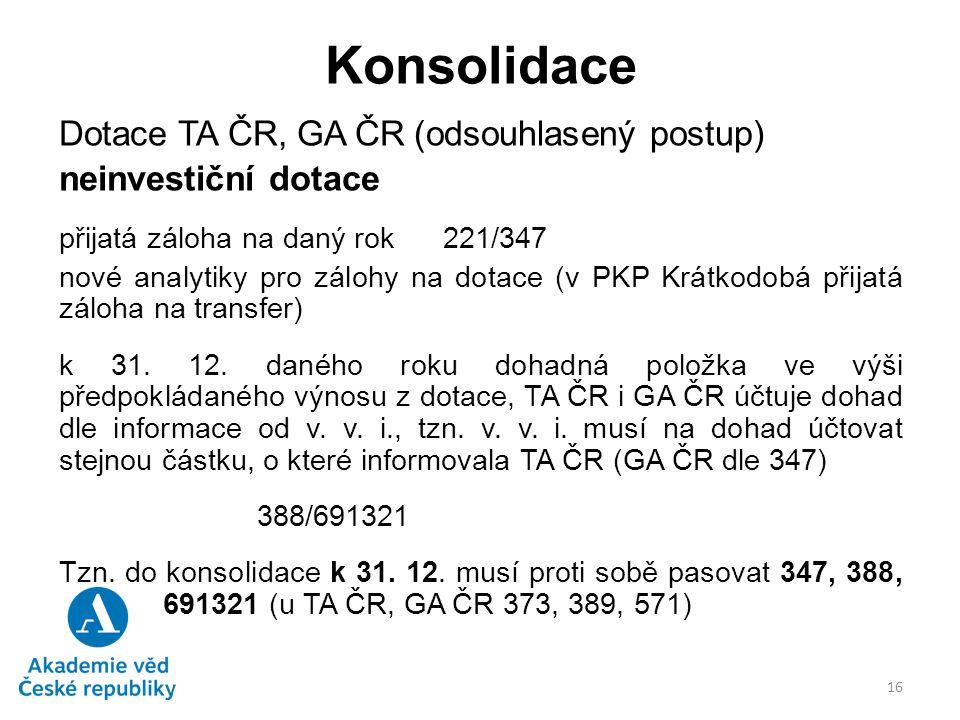 Konsolidace Dotace TA ČR, GA ČR (odsouhlasený postup)
