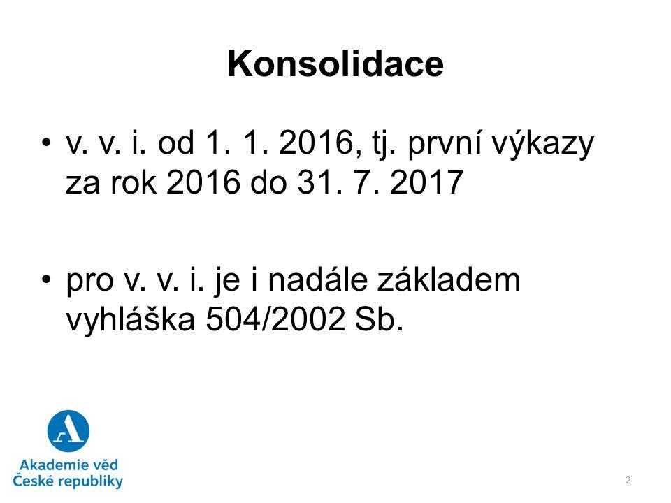 Konsolidace v. v. i. od 1. 1. 2016, tj. první výkazy za rok 2016 do 31. 7. 2017. pro v. v. i. je i nadále základem vyhláška 504/2002 Sb.