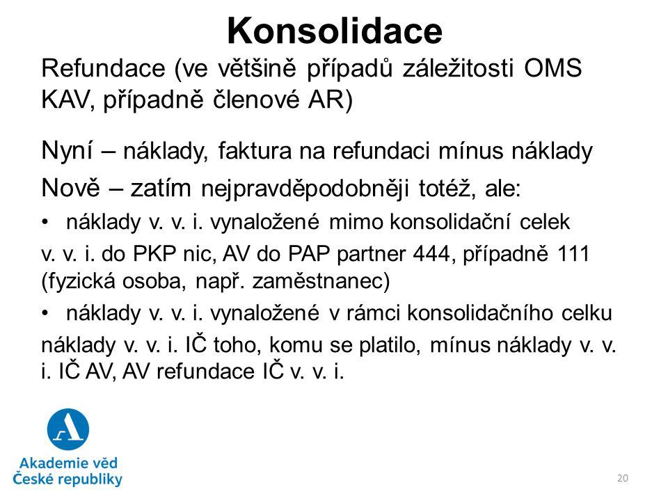 Konsolidace Refundace (ve většině případů záležitosti OMS KAV, případně členové AR) Nyní – náklady, faktura na refundaci mínus náklady.