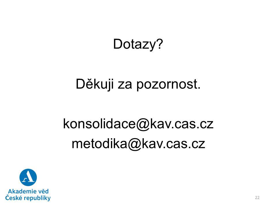 Dotazy Děkuji za pozornost. konsolidace@kav.cas.cz metodika@kav.cas.cz