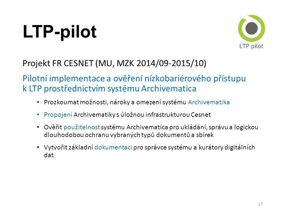 LTP-pilot Projekt FR CESNET (MU, MZK 2014/09-2015/10)