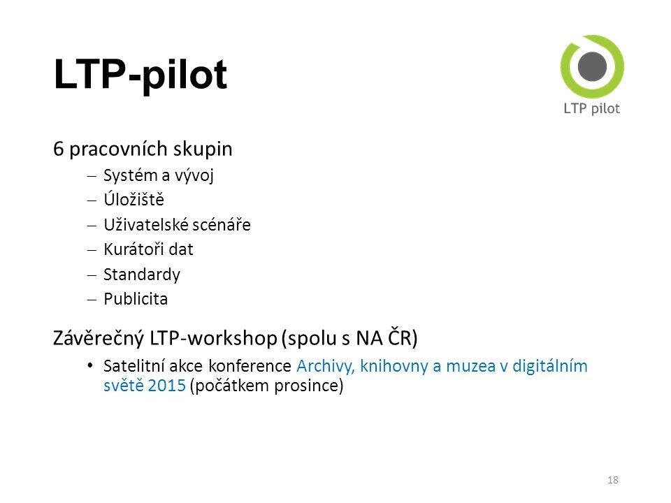 LTP-pilot 6 pracovních skupin Závěrečný LTP-workshop (spolu s NA ČR)