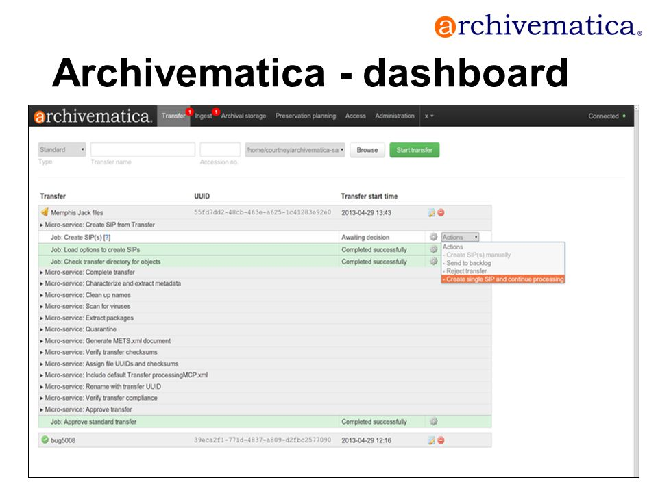 Archivematica - dashboard