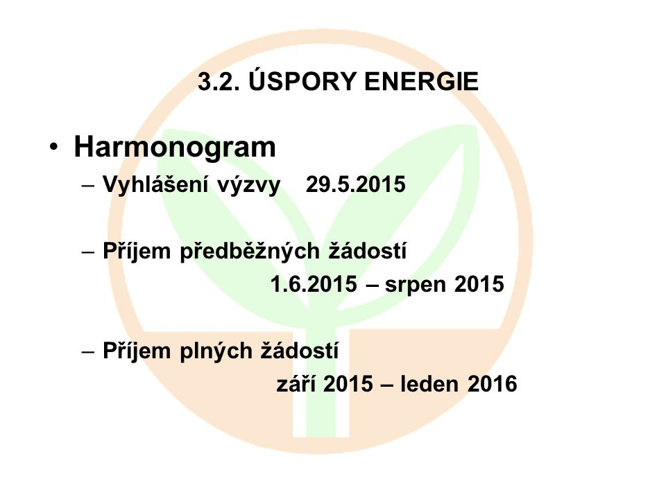 Harmonogram 3.2. ÚSPORY ENERGIE Vyhlášení výzvy 29.5.2015