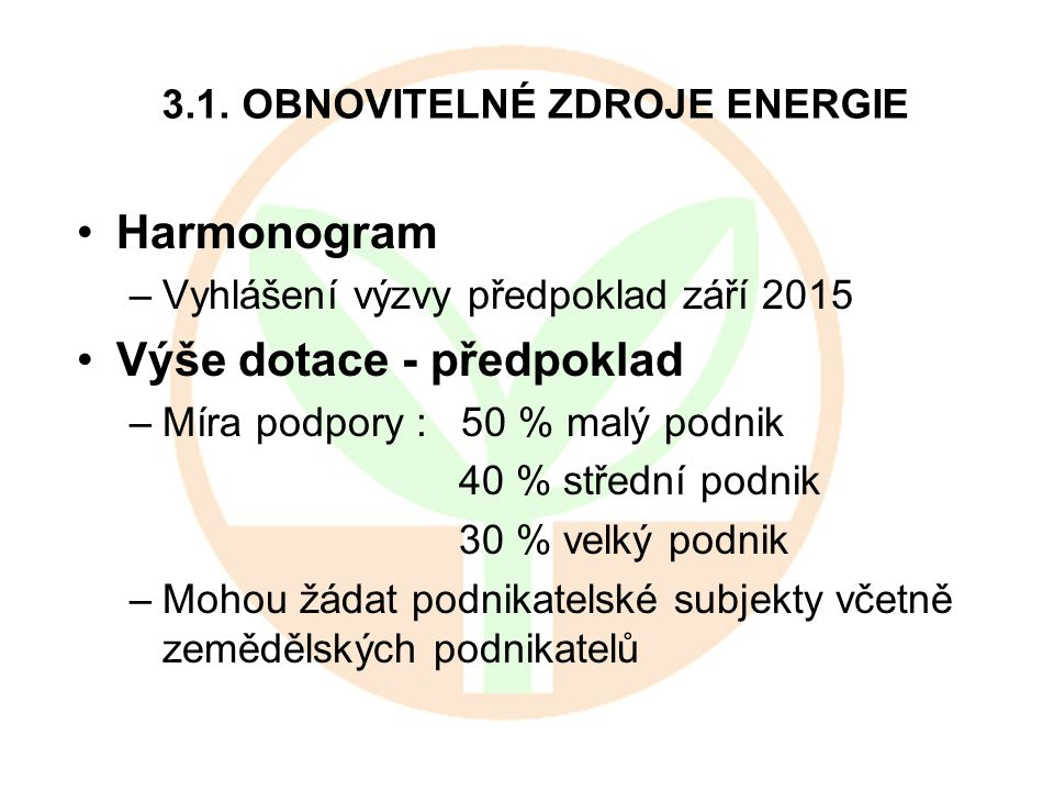 3.1. OBNOVITELNÉ ZDROJE ENERGIE