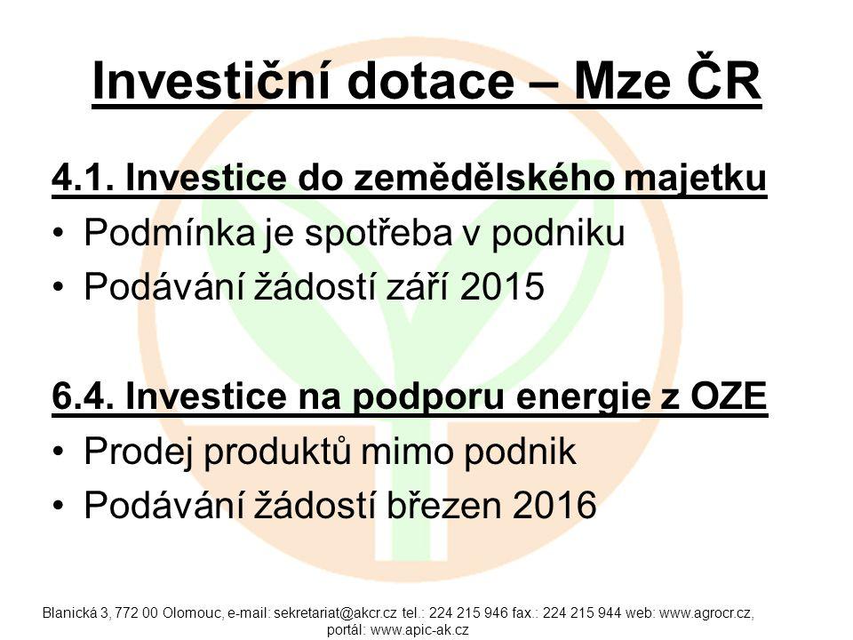 Investiční dotace – Mze ČR