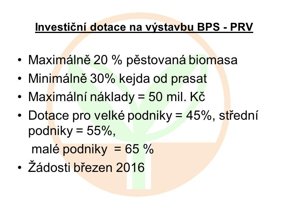 Investiční dotace na výstavbu BPS - PRV