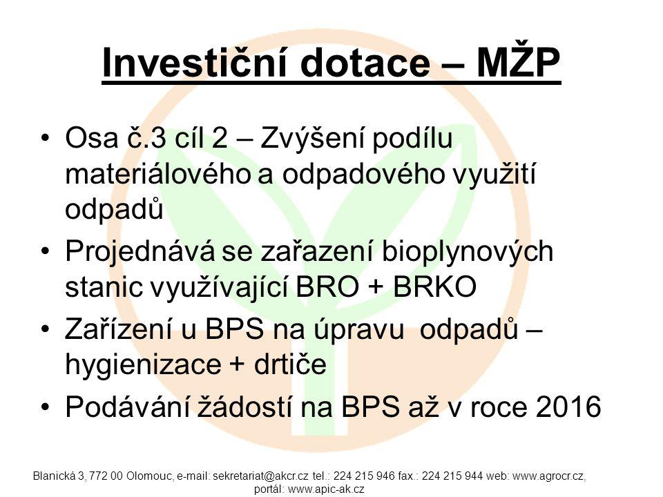 Investiční dotace – MŽP