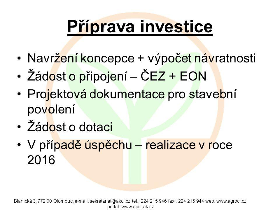 Příprava investice Navržení koncepce + výpočet návratnosti