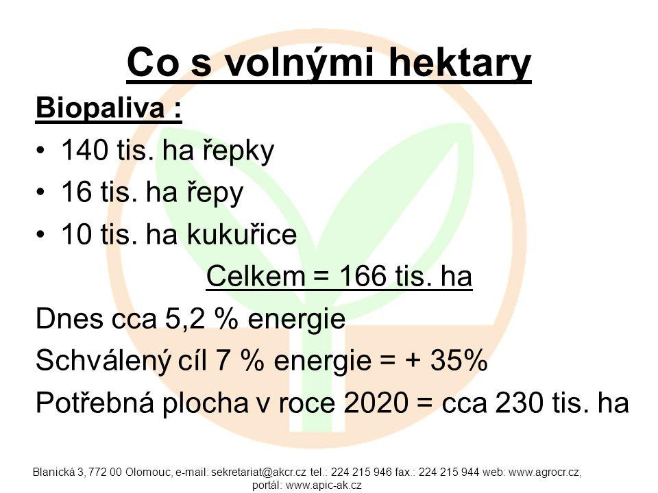 Co s volnými hektary Biopaliva : 140 tis. ha řepky 16 tis. ha řepy