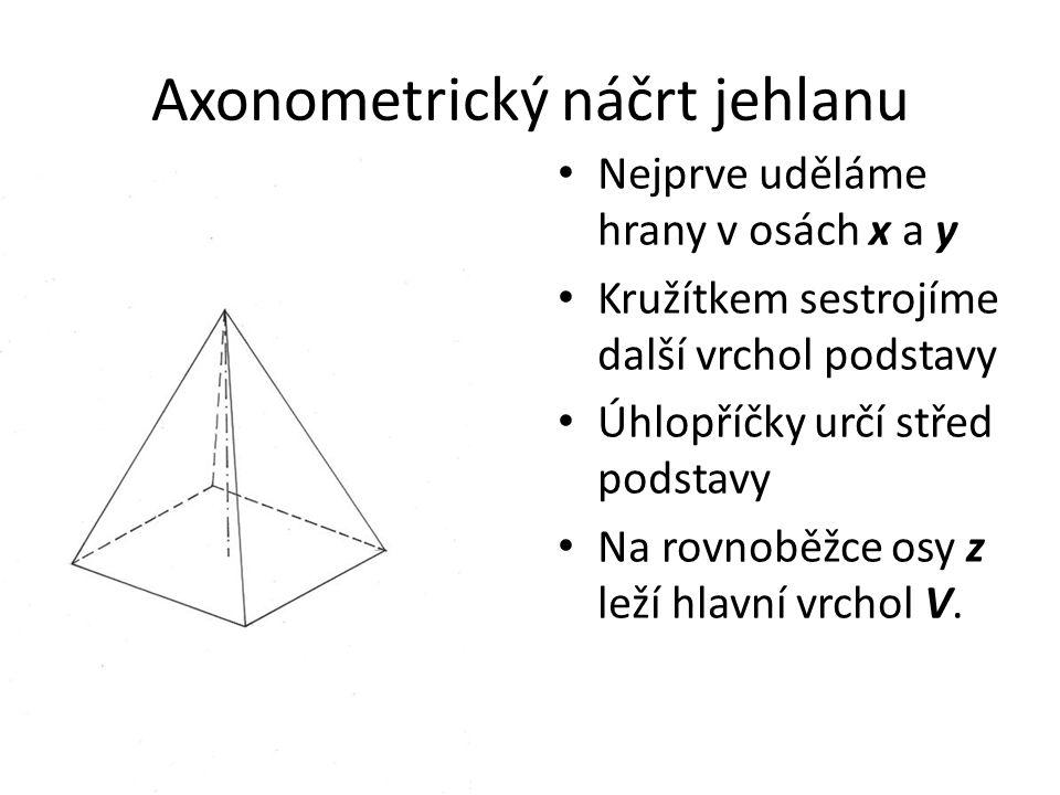 Axonometrický náčrt jehlanu